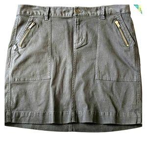 Charcoal Grey Stretch Cotton Utility Mini Skirt